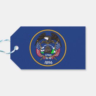 Gåvamärkre med den statliga flagga av Utah, USA Presentetikett