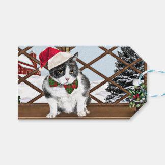 Gåvamärkre med Felix, kattungen, redo för julafton Presentetikett