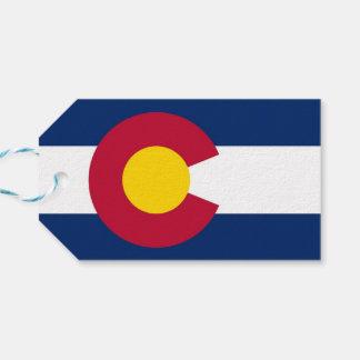 Gåvamärkre med flagga av Colorado, USA Presentetikett