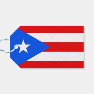 Gåvamärkre med flagga av Puerto Rico, USA Presentetikett