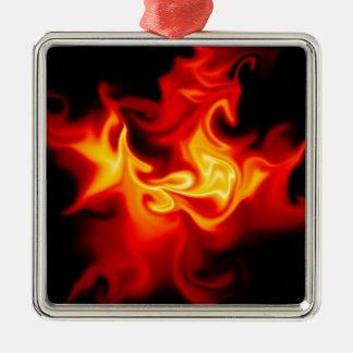 Gåvan bildar helvete silverfärgad fyrkantigt julgransprydnad