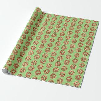 Gåvasjal - röda julkranar på grönt presentpapper