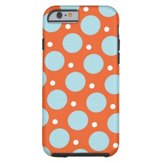 Gåvor för blått- och orangepolka dotsmönster tough iPhone 6 fodral
