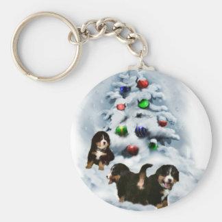 Gåvor för jul för Bernese berghund Rund Nyckelring