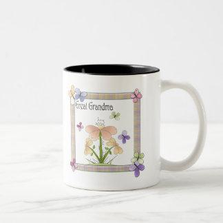 Gåvor för mors dag för mormor för fjärilsblomma Två-Tonad mugg