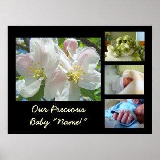 Gåvor för tryck för nyfödd bebisfotokonst vår dyrb print