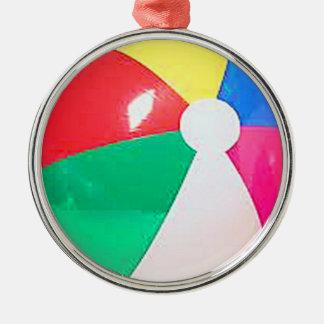 """Gåvor och produkter """"för strandboll"""" design rund silverfärgad julgransprydnad"""