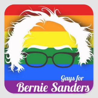 Gay pride för Bernie slipmaskiner Fyrkantigt Klistermärke