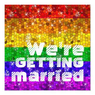 Gay pride för jämställdhet för giftermål för fyrkantigt 13,3 cm inbjudningskort