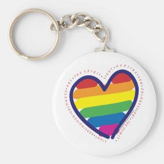 Gay prideandehjärta rund nyckelring
