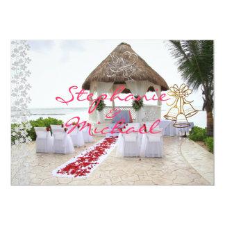 Gazebo på strandbröllopinbjudan 12,7 x 17,8 cm inbjudningskort