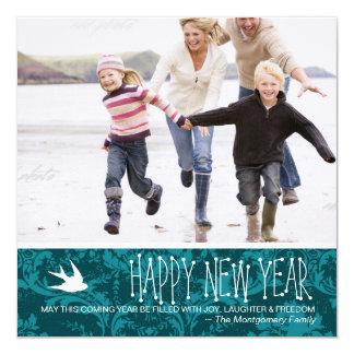 GCfluga i turkosdamasten för nytt år Fyrkantigt 13,3 Cm Inbjudningskort