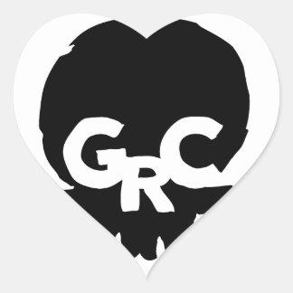 GCR-cirkla-logotyp-kvarter Hjärtformat Klistermärke