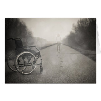 """""""Ge aldrig upp"""" att få ut ur rullstolkort Hälsningskort"""