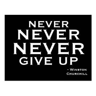 Ge aldrig upp - den Motivational vykortet Vykort