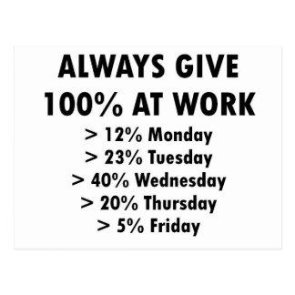 Ge alltid 100% på arbete vykort