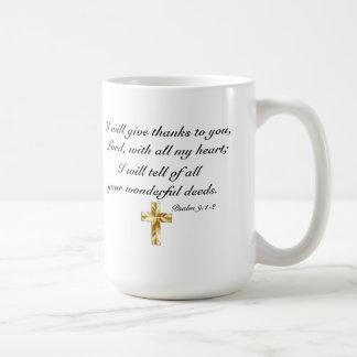 Ge berömPsalm9:1 - 2 mugg för 15 uns klassikervit