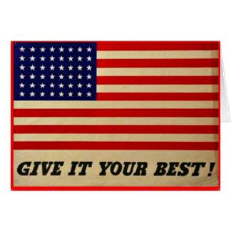 Ge det som din bäst vintageamerikanska flaggan OBS kort