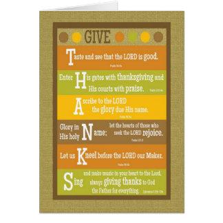 GE det TACK vikta Scripturethanksgivingkortet Hälsningskort