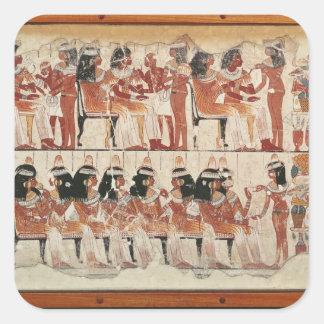 Ge en bankett för platsen, från Thebes, c.1400 BC Fyrkantiga Klistermärken