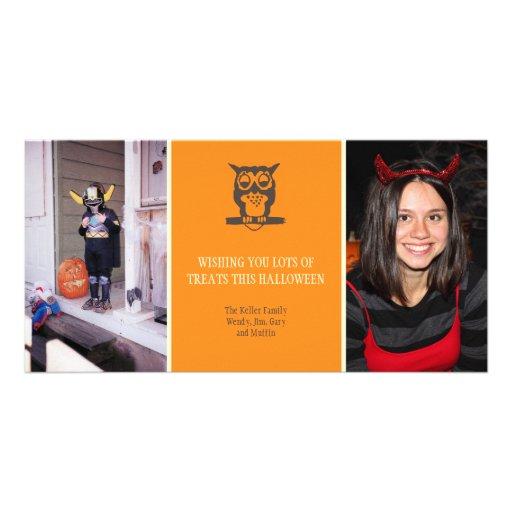 Ge en dyft den gulliga ugglan orange Halloween två Hälsningskort Med Foto