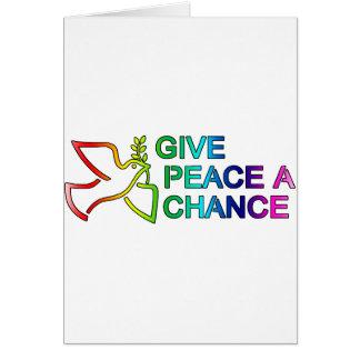 Ge fred en riskera (regnbågen) hälsningskort