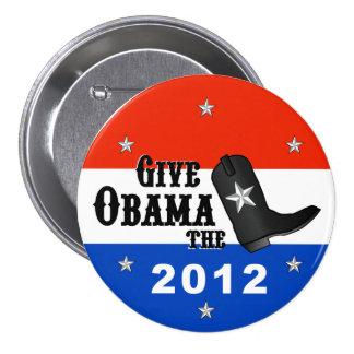 Ge Obama kängan! (Stort knäppas), Mellanstor Knapp Rund 7.6 Cm