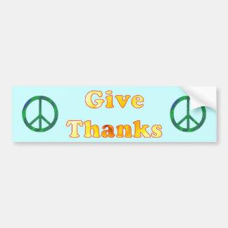 Ge tack, blommaordkonst för fred bildekal