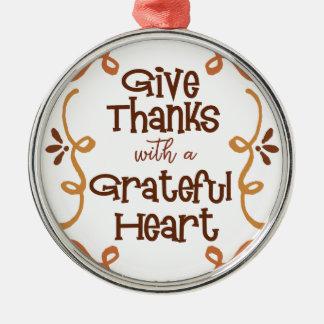 Ge tack med en tacksam hjärta julgransprydnad metall