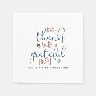 Ge tack med en tacksam hjärta servett