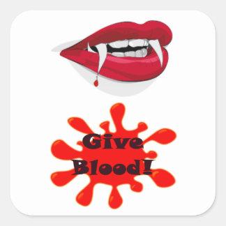 Geblod - till en vampyr fyrkantigt klistermärke
