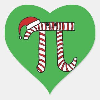 Geek för Math för julPi-tecknad Hjärtformat Klistermärke