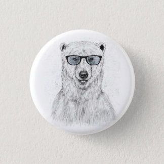 Geekbjörn (blått) mini knapp rund 3.2 cm