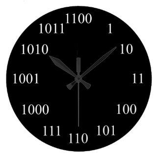 Geeky binärt numrerar systemet stor rund klocka