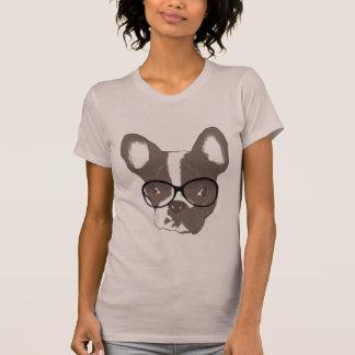 Geeky fransk bulldogg i exponeringsglasskjorta tee