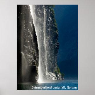 Geirangerfjord vattenfall, norge poster