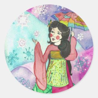 Geisha av nya börjanklistermärkear runt klistermärke