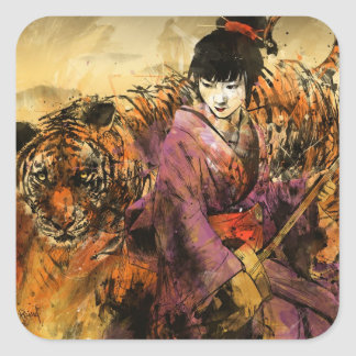 Geisha Fyrkantigt Klistermärke