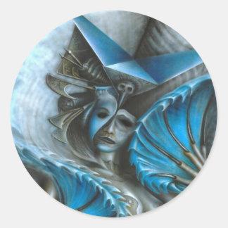 Geisha i blått runt klistermärke