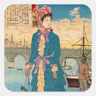Geisha i den västra japanska träklosskonsten fyrkantigt klistermärke
