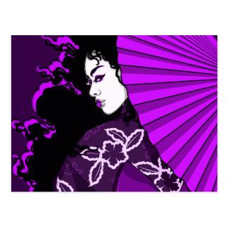 Geisha i (djupa) lilor vykort