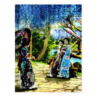 Geisha i en Wisteriaträdgårdvintage gammala Japan Vykort