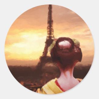 Geisha i Paris Runt Klistermärke