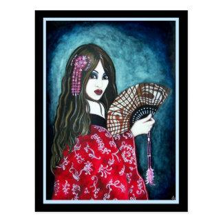 Geisha med fläkten vykort