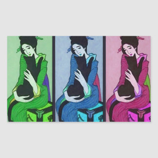 Geisha med katten rektangulärt klistermärke