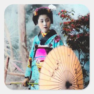 Geisha med Wagasa en papper ett slags Fyrkantigt Klistermärke