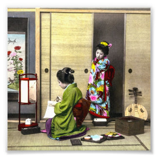 Geisha och henne Meiko i gammal Japan vintage Fototryck