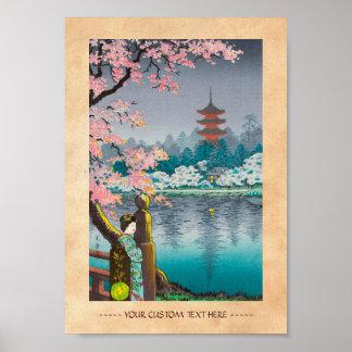 Geisha- och körsbärträd, Ueno parkerar japanskt la Poster