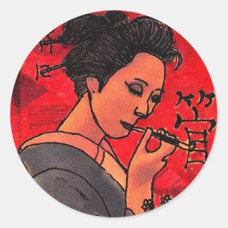 Geisha som röker den Kiseru klistermärken