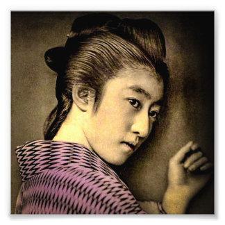 Geishaen i skuggar vintage exotiska gammala Japan Fototryck